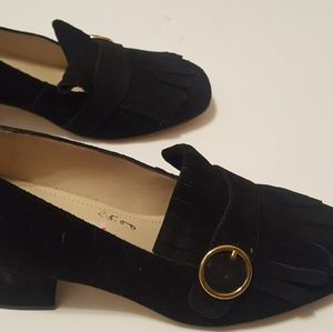 Marc Fisher Buckle Suede Loafer Block Heel Black